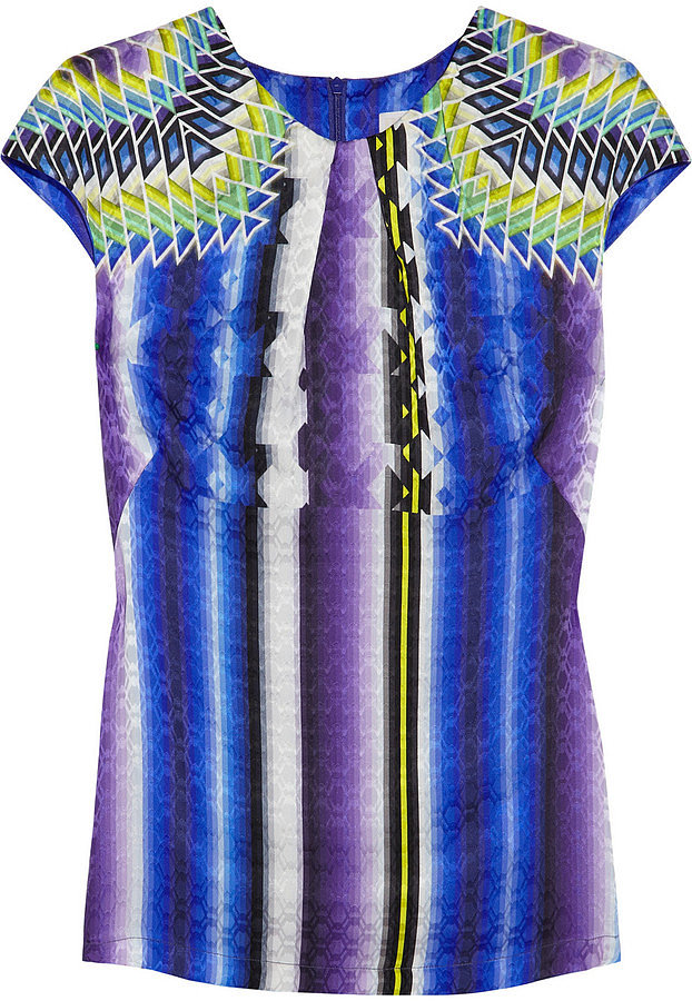 Perk up your office look by pairing this Peter Pilotto Printed Silk-Jacquard Top ($754) with a black pencil skirt or skinny trousers.