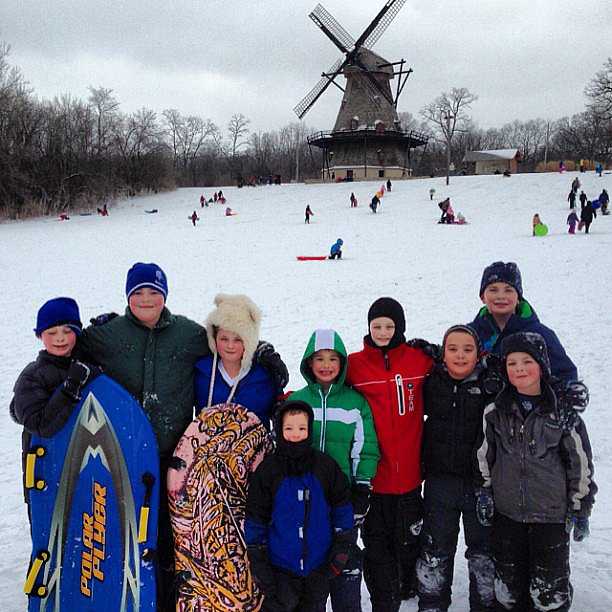 Evan Asher spent a snowy day sledding in Chicago. Source: Instagram user jennyannmccarthy