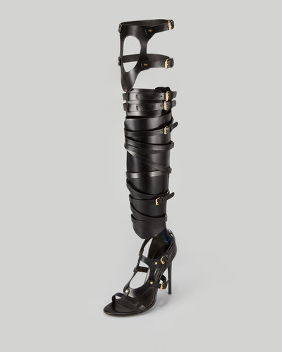 Tom Ford Strappy Buckled Sandal Boot, Black