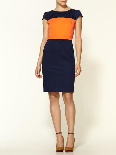 LaLa Anthony&#039;s Navy Blue &amp; Orange Colorblock Dress