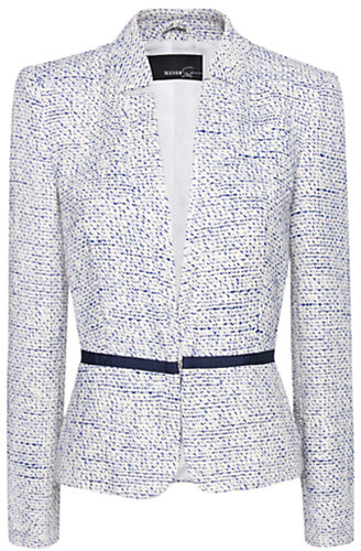 Mango Boucle Blazer, Neon Blue