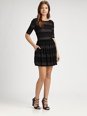 BCBGMAXAZRIA Loue Striped Lace Dress