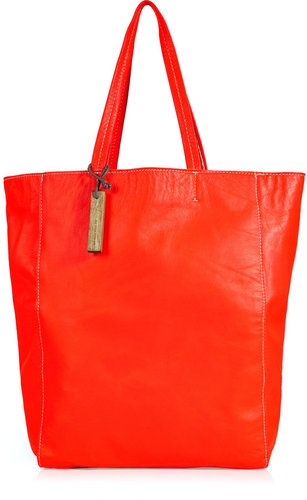 Monserat de Lucca Neon Coral Leather Tote