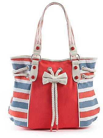 Blue and Red Stripe Bow Shopper