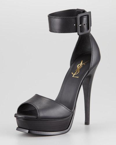 Saint Laurent Tribute Ankle Strap Platform Heel, Black