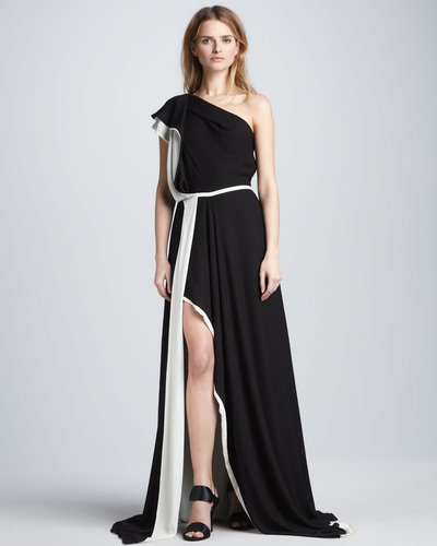 Halston Heritage One-Shoulder Colorblock Gown