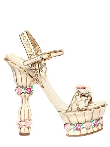 Dolce &amp; Gabbana - 160mm Crystal, Leather &amp; Rose Sandals