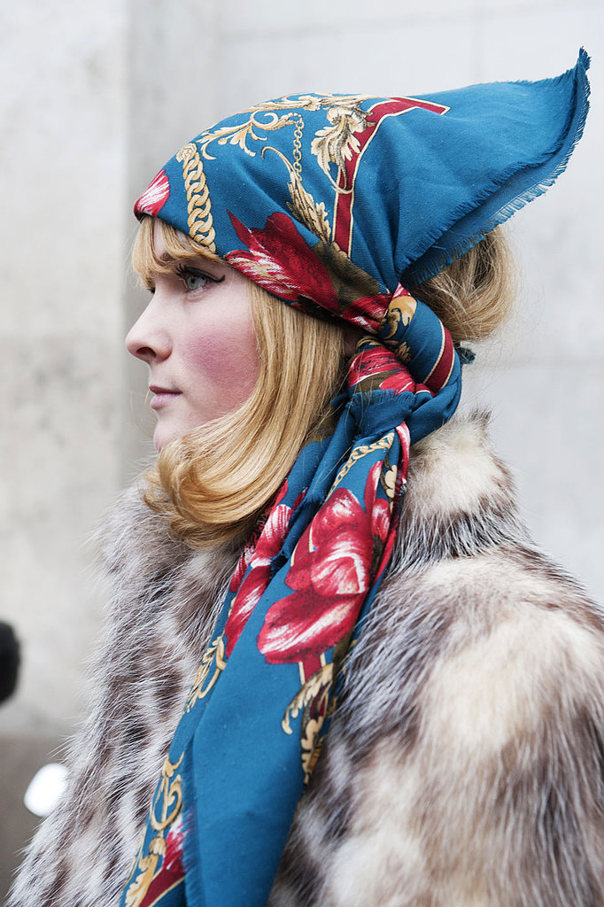 Protecting your hair from inclement weather is easy with a patterned scarf.