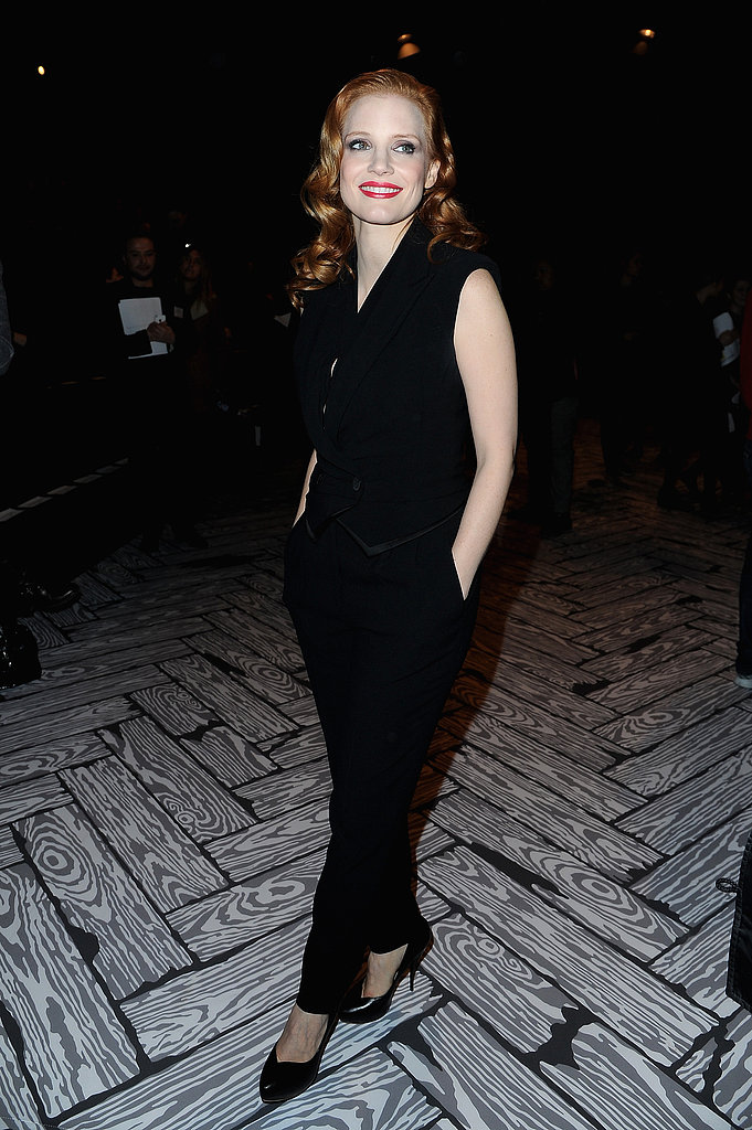 Jessica Chastain wore all black to Viktor & Rolf's front row on Saturday.