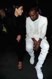 Kim Kardashian and Kanye West chatted during Paris Fashion Week.