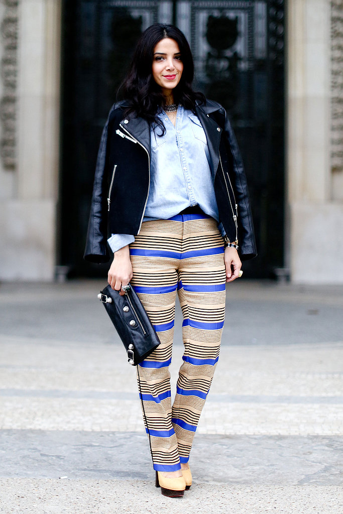 Statement trousers got tempered with a button-down and a leather jacket.