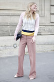 Pastels gave a geometric knit and flares a bit of a girlie side.