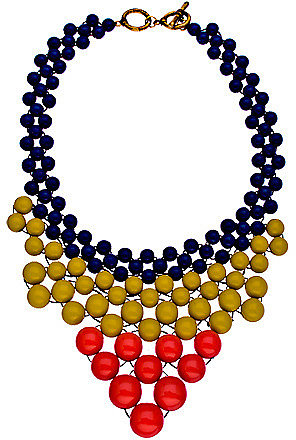 Blu Bijoux Navy Yellow and Coral Beaded Bib