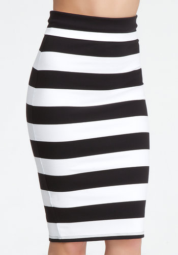 Wide Stripe Midi Skirt