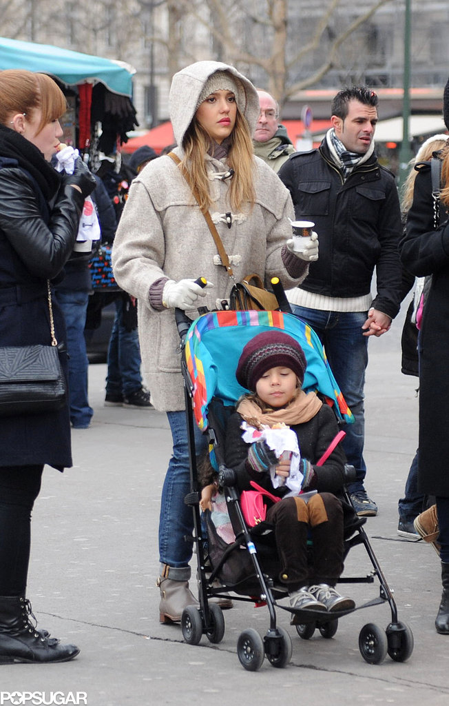 Jessica Alba pushed Honor around Paris in her stroller.