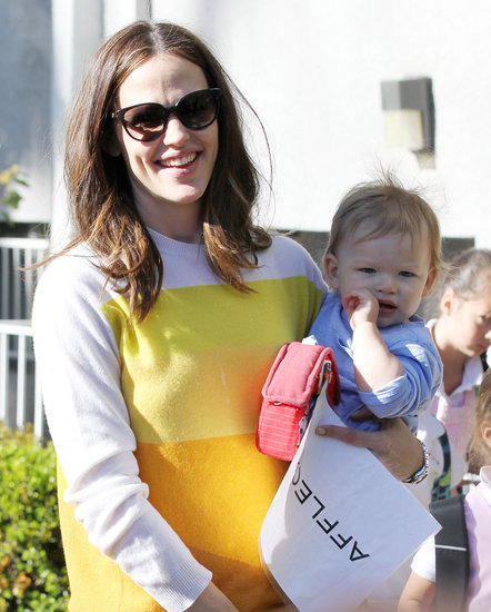 Jennifer Garner held onto Samuel Affleck as she ran errands around LA in February 2013.