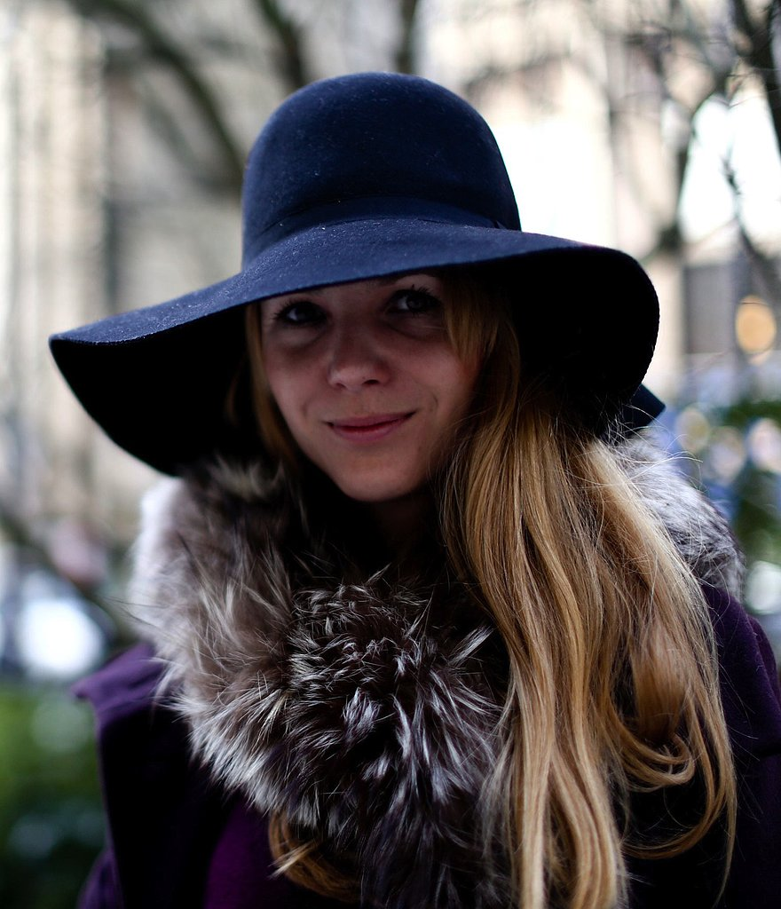 A floppy wool hat completed this bohemian Fashion Week look.