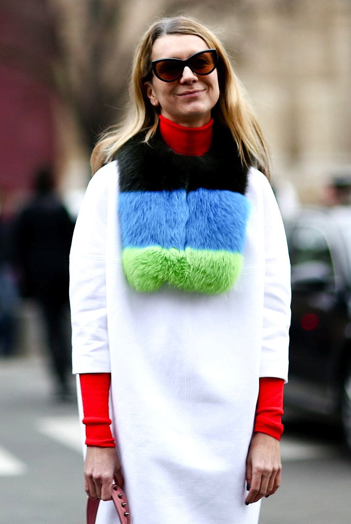 A bright, multicolored fur scarf completed this modern style-setter's look.
