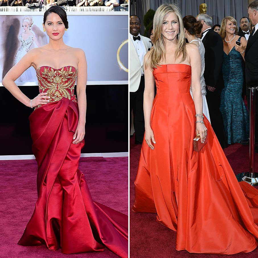 Jennifer Anniston and Olivia Munn lead the red-hot dress trend on Oscars night.