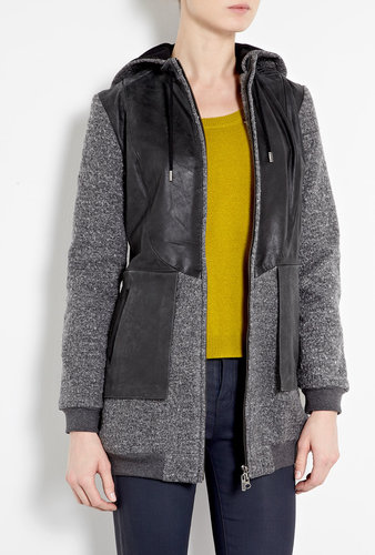 Francis Leon Night Fighter Leather And Wool Hooded Jacket