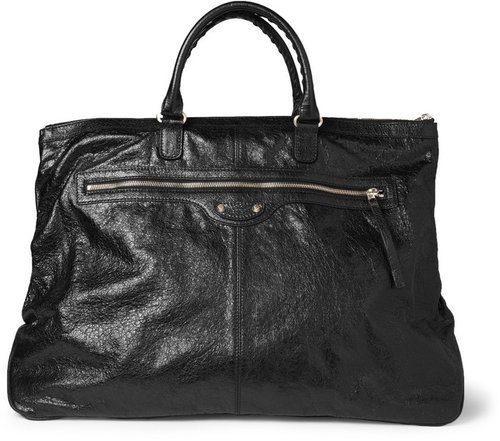 Balenciaga Creased-Leather Holdall Bag