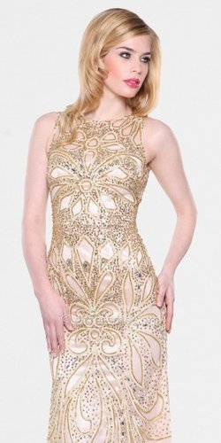 Gold Beads Long Prom Dress By Atria