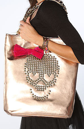 Betsey Johnson The Skull Candy Tote Bag in Rose Gold