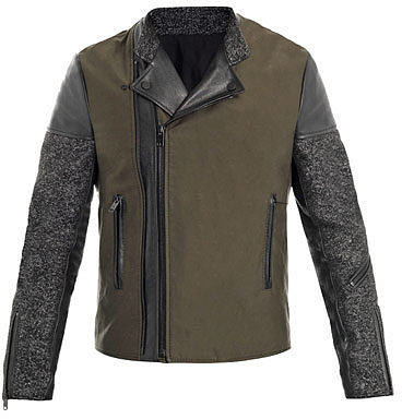 Balenciaga Tweed and leather biker jacket