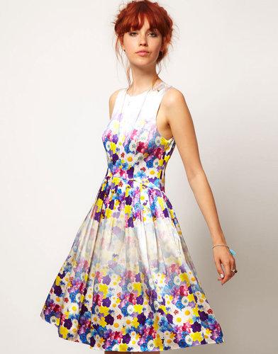 ASOS SALON Floral Midi Prom Dress