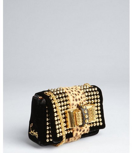 Christian Louboutin black velvet and jungle pony hair 'Sweet Charity' chain shoulder bag