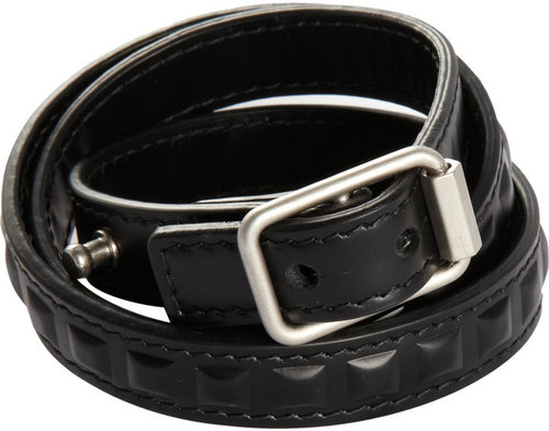 Balenciaga Leather-Covered Grommet Bracelet