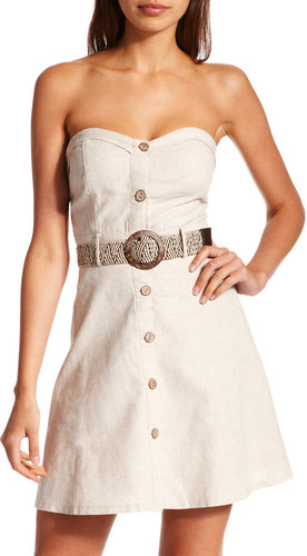 Belted Linen Tube Dress