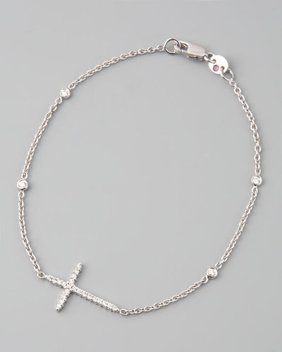 Roberto Coin Integrated Diamond Cross Bracelet, White Gold