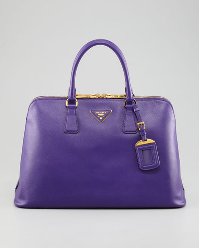 Prada Saffiano Lux Two-Way Zip Satchel Bag
