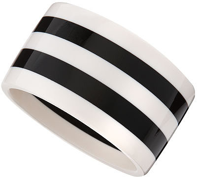R.J. Graziano Black &amp; White Striped Bangle