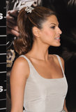 At the premiere of The Other Guys in 2010, Eva added a jeweled hair tie to a high ponytail with flipped ends.