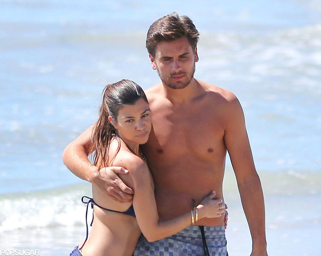 Kourtney Kardashian and Scott Disick hugged.