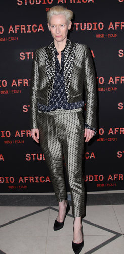 Tilda Swinton wore a patterned suit to a Diesel + Edun party in March for Paris Fashion Week.
