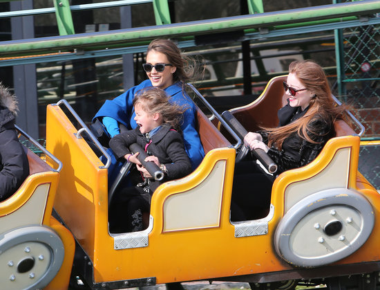 Jessica Alba and her daughter Honor took a scary seat on an amusement-park ride in Paris in March 2013.