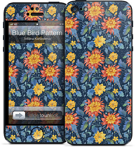 The Blue Bird Pattern ($15) skin for iPhone 5 looks like it was inspired by the Arts and Crafts movement.