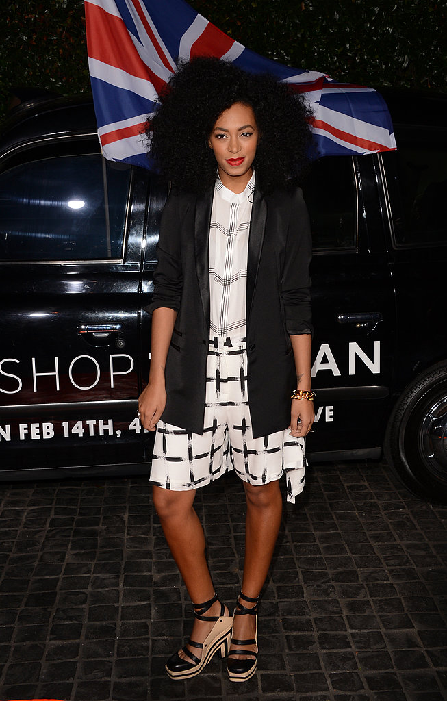 At the Topshop opening in LA, Solange Knowles gave her graphic prints a fresh black and white spin.