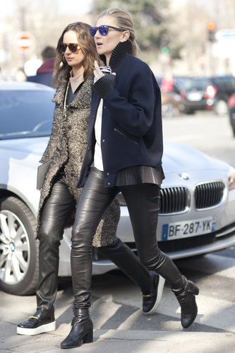 Leather pants and cool-girl shades kept this duo in sync.