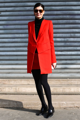 Giovanna Battaglia worked red and black for an eye-catching effect.