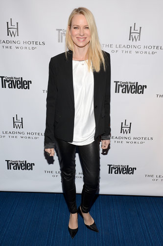 At an event in Beverly Hills, Naomi Watts's black and white palette consisted of black leather pants, a silky white top, black blazer, and black, pointy kitten heels.