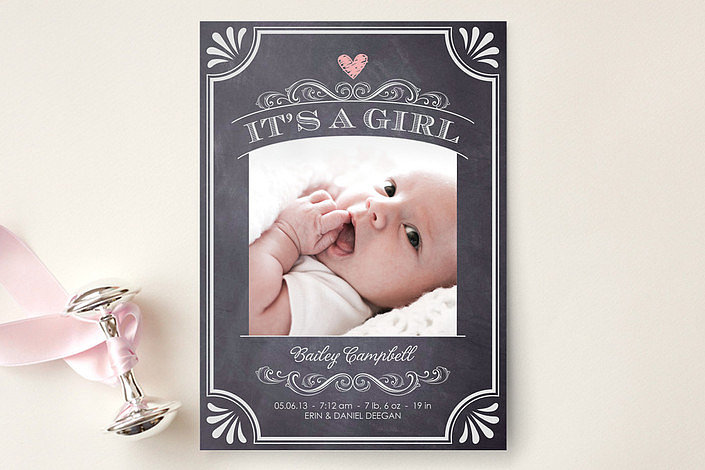 Minted Vintage Chalkboard Birth Announcement