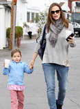 Jennifer Garner had daughter Seraphina by the hand during a Monday trip to the Brentwood Country Mart.