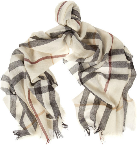 Burberry Shoes &amp; Accessories Checked merino wool and cashmere-blend scarf