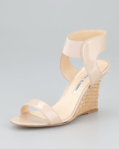 Manolo Blahnik Pepewe Patent Elastic Wedge Sandal