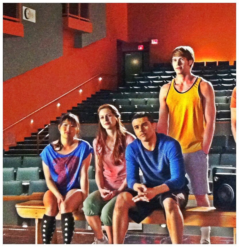 The Glee cast took five while filming. Source: Twitter user MrRPMurphy