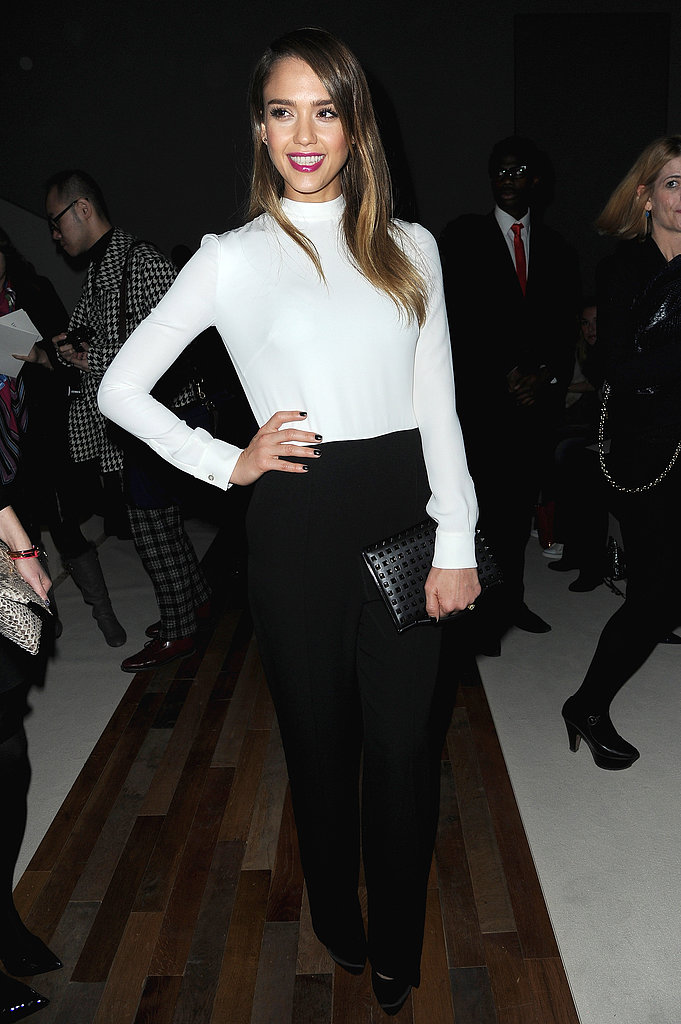 Jessica Alba posed inside the Valentino show on Tuesday.